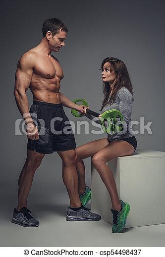 couple, studio., poser, fitness - csp54498437