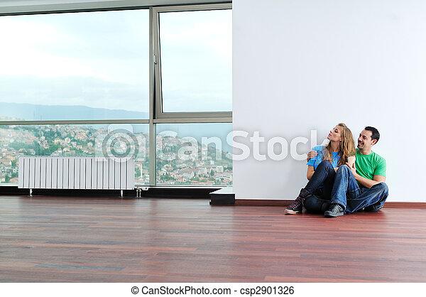 couple, travail, amusez-vous, maison, ordinateur portable, heureux - csp2901326