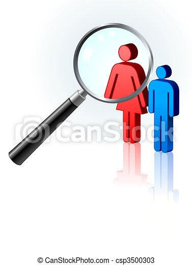 Couple under magnifying glass - csp3500303