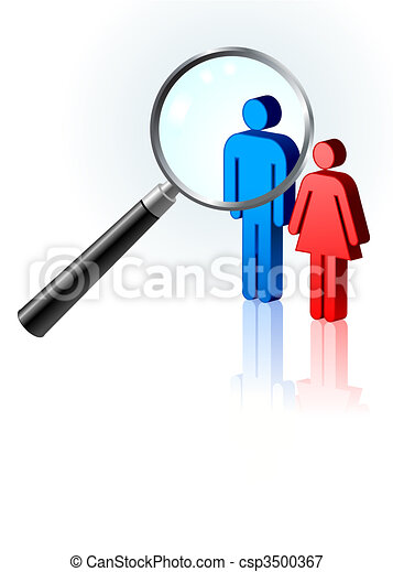 couple under magnifying glass - csp3500367