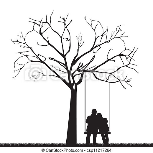 black couple under tree over swing vector illustration clip art owl in a tree Red and Blue in a Tree Owls Clip Art