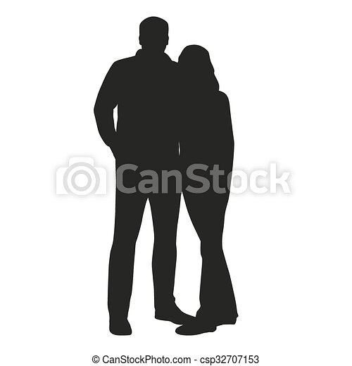 Couple vector silhouette. Hugging people - csp32707153