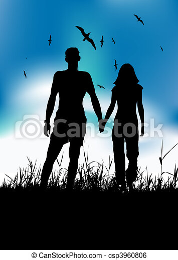 Couple walking on summer meadow, black silhouette - csp3960806