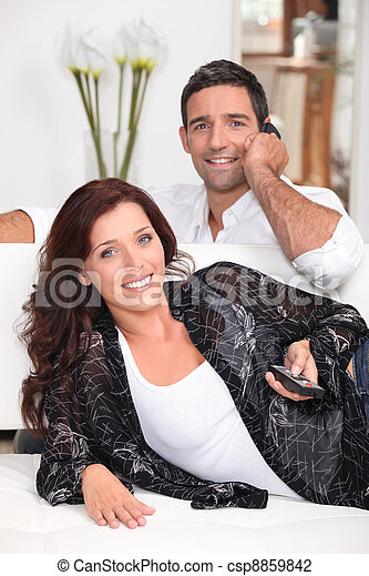 Couple watching television - csp8859842