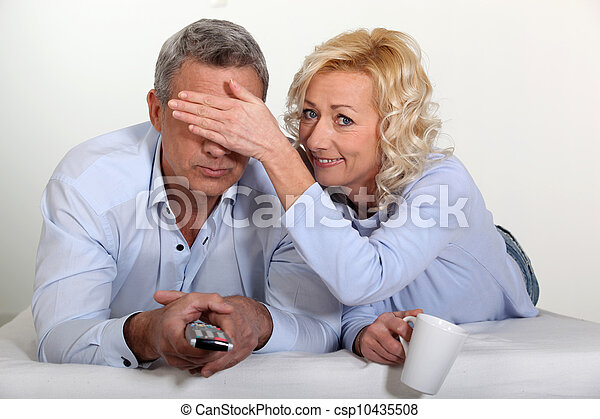 Couple watching television - csp10435508