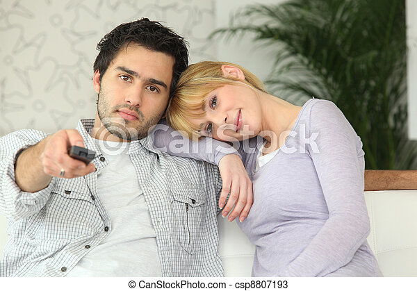 Couple watching television - csp8807193