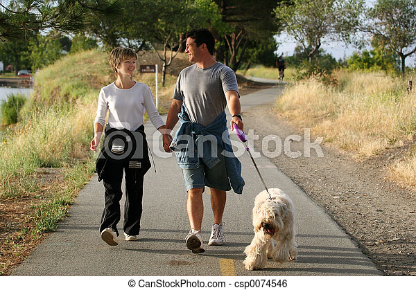 Couple with a dog - csp0074546
