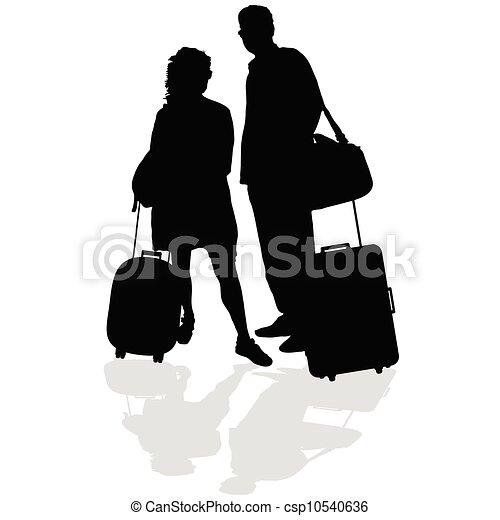 couple with a suitcase vector - csp10540636
