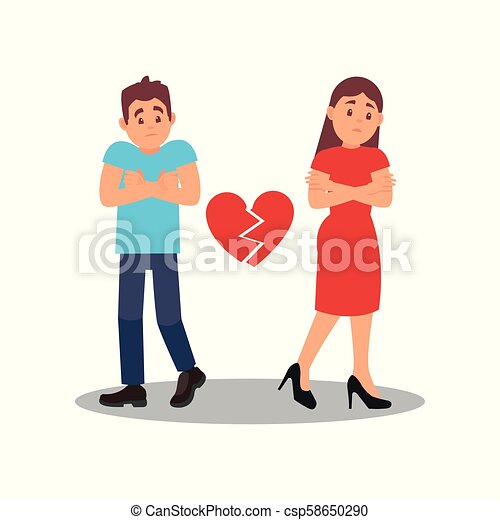 Couple with broken heart. Young woman and man with upset face expressions. Troubles in relationships. Flat vector design - csp58650290