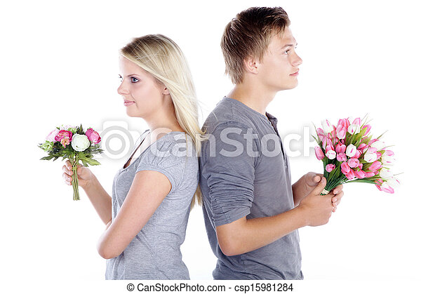 couple with bunch of flowers - csp15981284