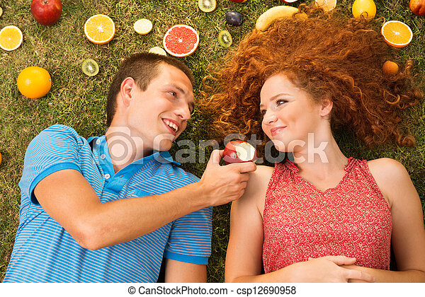 Couple with fruit - csp12690958