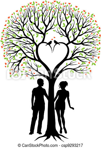couple with heart tree, vector  - csp9293217