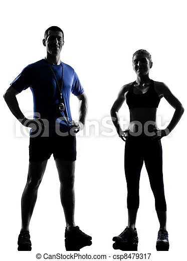 couple woman man exercising workout aerobic instructor - csp8479317