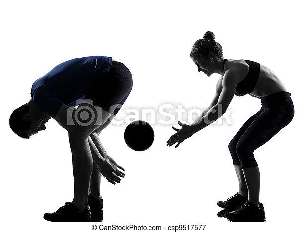 couple woman man exercising workout  - csp9517577