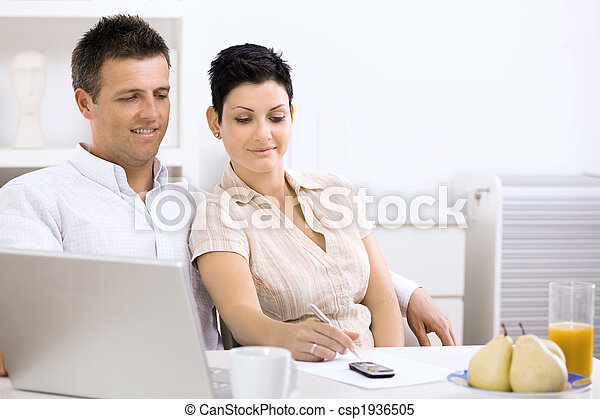 Couple working at home - csp1936505