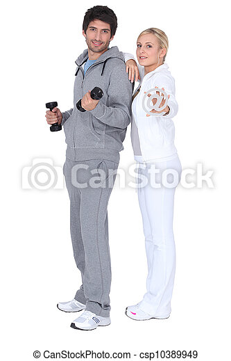 Couple working out together - csp10389949