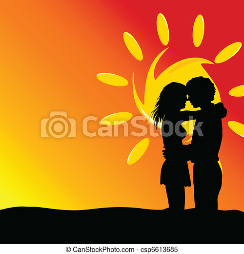 couple young kissing vector  - csp6613685