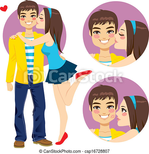 Couple Young Lovers Kiss - csp16728807