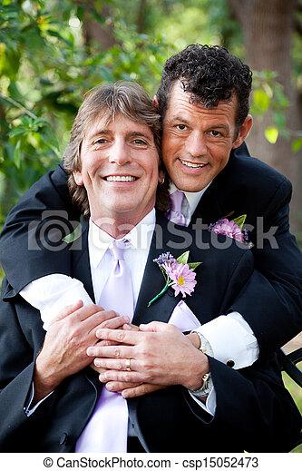 couples gais, -, portrait mariage, beau - csp15052473