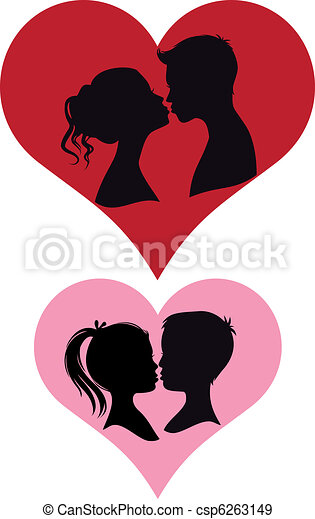 couples kissing, vector - csp6263149