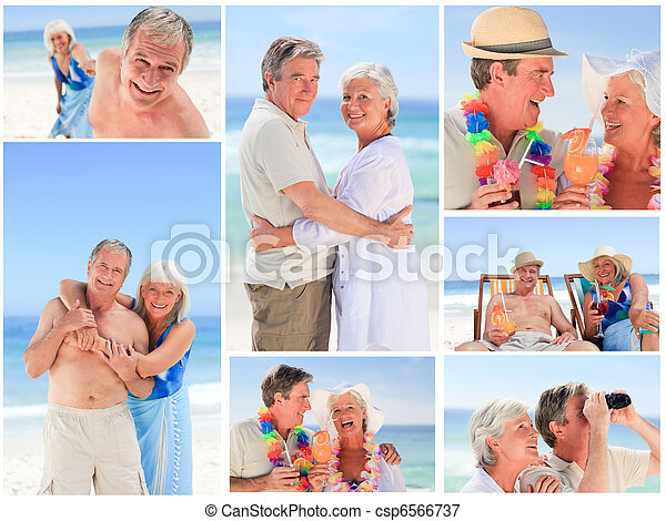 couples mûrs, collage, plage - csp6566737