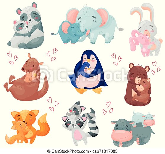 Couples of animals. Mom and baby. Vector illustration on white background. - csp71817085