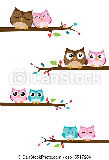 couples of owls sitting on branches - csp15517286