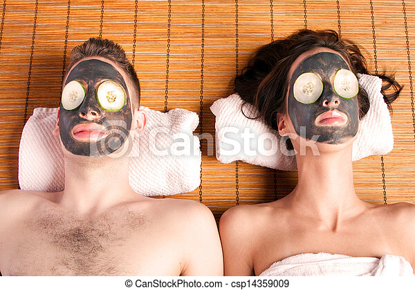 Couples retreat facial mask spa - csp14359009