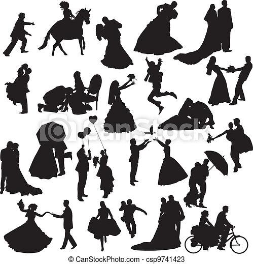 couples, silhouette, d, matrimonio - csp9741423