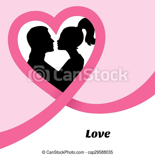 Couple's silhouette kissing image - csp29588035