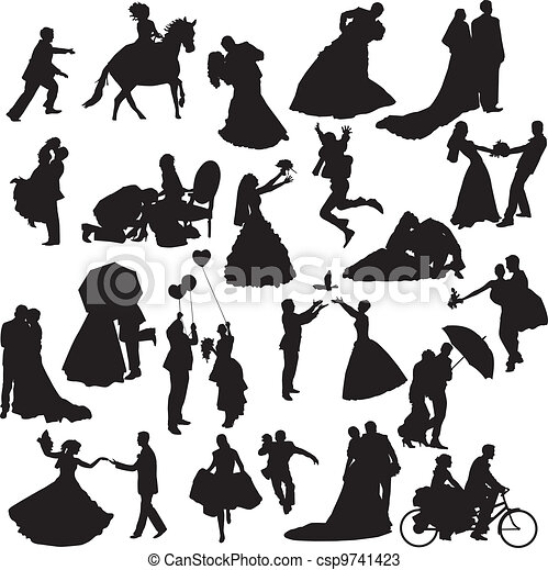 couples, silhouettes, d, mariage - csp9741423
