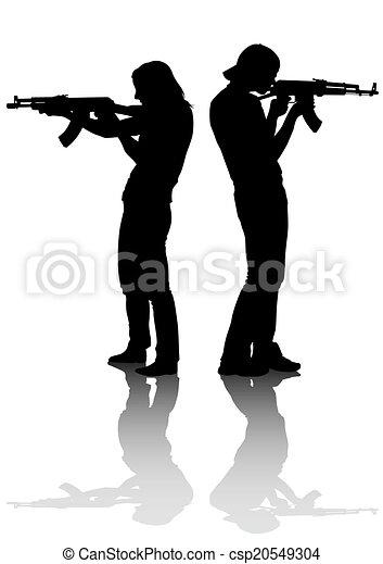 Couples whit gun - csp20549304