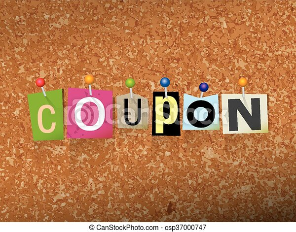 Coupon Concept Pinned Letters Illustration - csp37000747