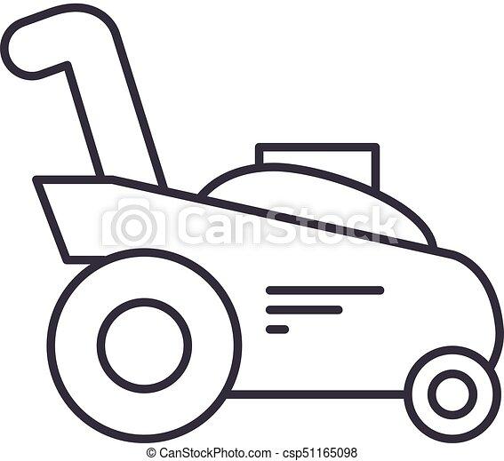 coups, coupeur, illustration, jardinage, herbe, machine, vecteur, editable, signe, ligne, fond, icône - csp51165098