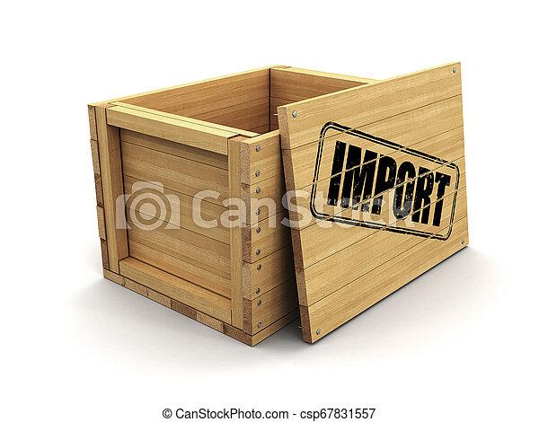 coupure, bois, image, caisse, timbre, import., sentier - csp67831557