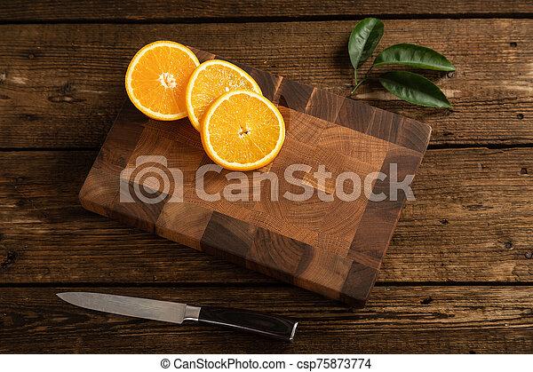 coupure, découpage, board., bois, oranges, orange - csp75873774