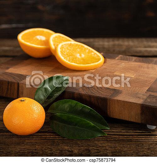 coupure, découpage, board., bois, oranges, orange - csp75873794