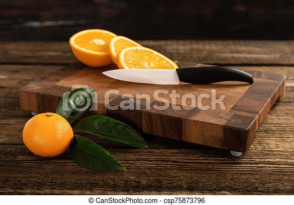 coupure, découpage, board., bois, oranges, orange - csp75873796