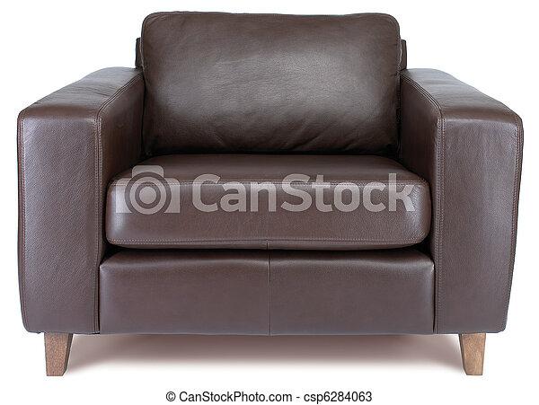 coupure, fauteuil cuir, isolé, sentier, blanc - csp6284063