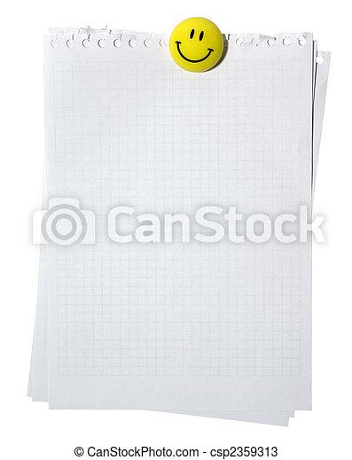 coupure, pages, magnet., spirale, jaune, isolé, arrière-plan., cahier, blanc, path., sourire, vide, stackes - csp2359313