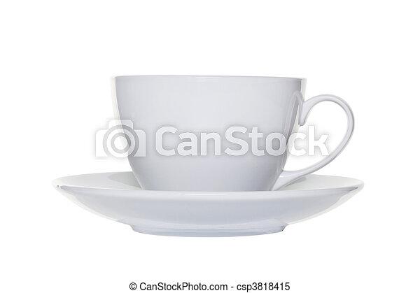 coupure, tasse, thé, blanc, soucoupe, dehors - csp3818415