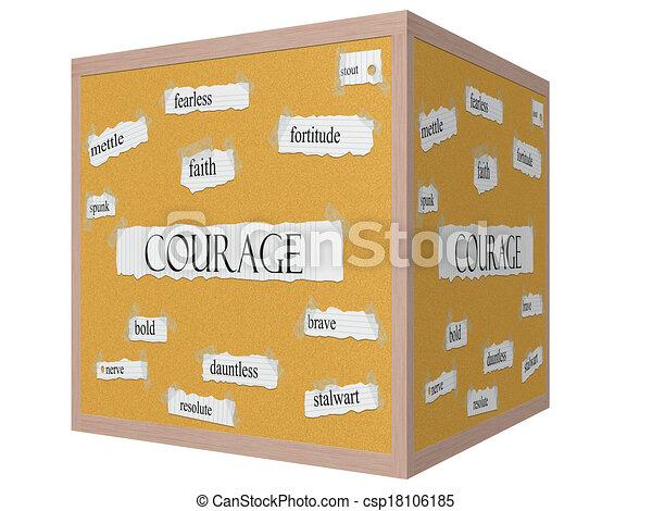 Courage 3D cube Corkboard Word Concept - csp18106185
