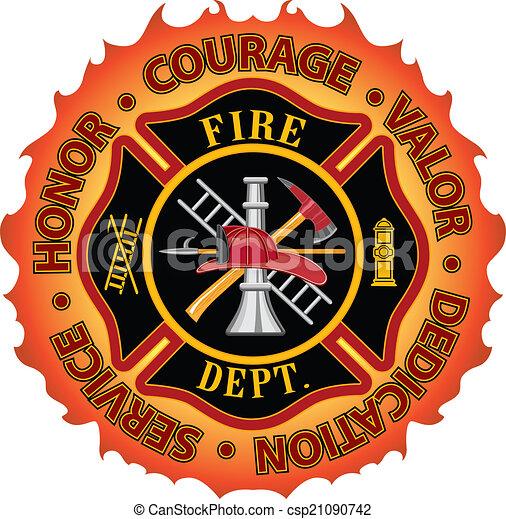 courage, pompier, honneur, valeur - csp21090742