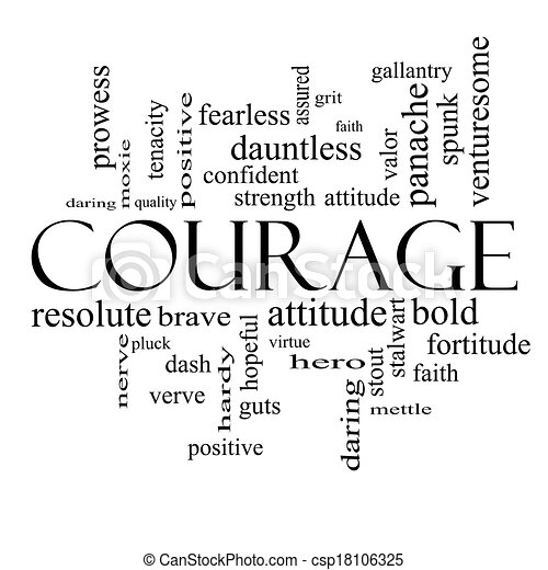 Courage word cloud concept in black and white with great terms such as strength gallantry bold and more