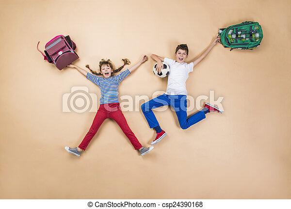 courant, enfants, école - csp24390168