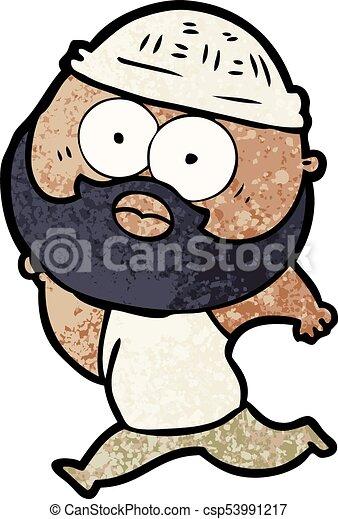 courant, homme, barbu, dessin animé - csp53991217