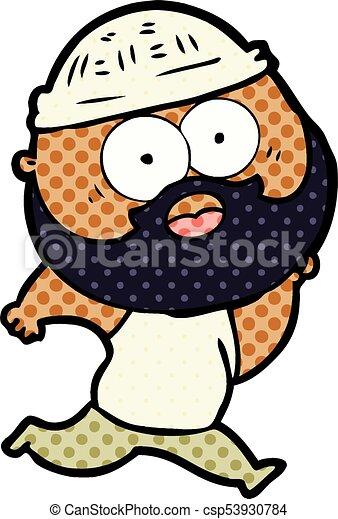 courant, homme, barbu, dessin animé - csp53930784