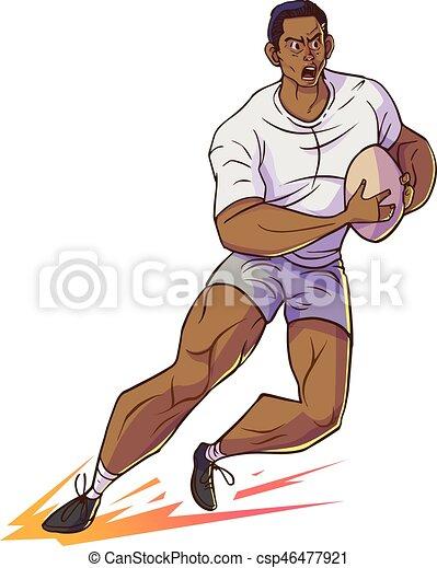 Courant rugby dessin anim joueur vecteur prise illustrtion - Dessin de joueur de rugby ...