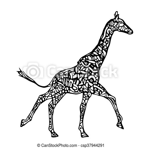 Courant Vecteur Girafe Illustration Courant Girafe Noir