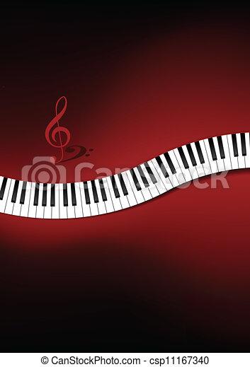 courbé, piano, fond, clavier - csp11167340